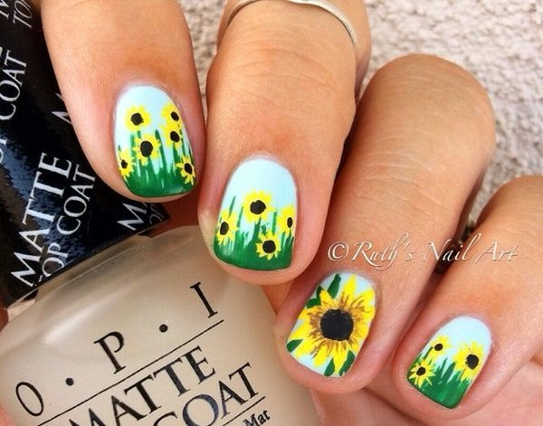 Sunflower nail design